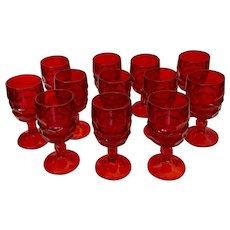 Viking Georgian Ruby Wine Glass Thumbprint Goblets ~ Set of 4