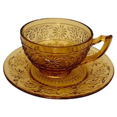 Vintage Indiana Glass Daisy Amber Cup and Saucer Set
