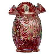 Fenton Glass Cranberry Red Iridescent Ruffled Daffodils Vase