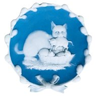 Blue Jasperware Jasper Ware Mother Cat & Kittens Dish