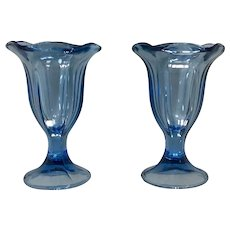 Anchor Hocking Blue Fountainware Footed Sundae Glass Set