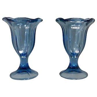 Anchor Hocking Blue Tulip Ice Cream Fountain Glass Set