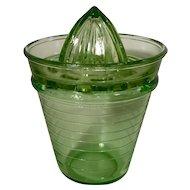 Vintage Vaseline Glass Juicer Jar and Reamer