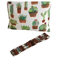 Beaded Stretch Belt Wooden Buckle and Accents Multi-Color Beads