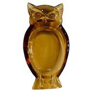 Viking Glass Amber Owl Ashtray Trinket Dish