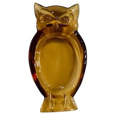 Viking Glass Amber Owl Ashtray Trinket Dish