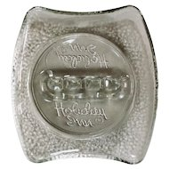 Vintage Holiday Inn Crackle Glass Ashtray