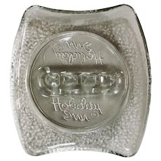 Vintage Holiday Inn Crackle Glass Ashtray