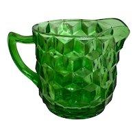 Jeannette Glass Cube Green Creamer