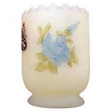 Fenton Blue Roses on Custard Toothpick Holder