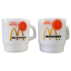 Vintage Fire King McDonalds Good Morning Mug Set