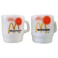 Vintage Fire King McDonalds Good Morning Mug Set