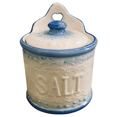 Vintage Blue/White Salt Glazed Stoneware Hanging Salt Crock
