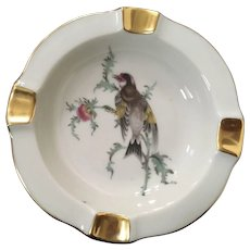 Eberthal Porcelain Ashtray Pattern 1463 Bird with Gold Trim
