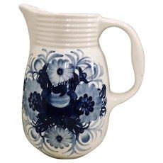 Fajans Polish Pottery Blue Flower Pitcher