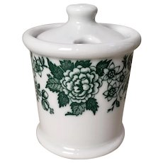 Jackson China Green Floral Covered Mustard Pot