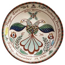 Vintage Sgraffito Redware Marriage/Wedding Plate by Margaret Montgomery