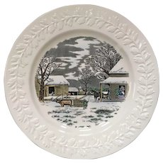 Adams China Currier & Ives Winter Scenes Dinner Plate