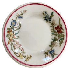 Syracuse China Floral Butter Pat with Red Band