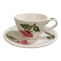 Continental Kilns Green Arbor Cream Demitasse Cup and Saucer