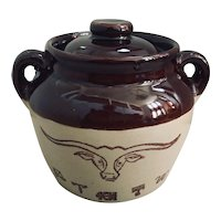 Texas Longhorn Western Stoneware Bean Crock Pot with Lid