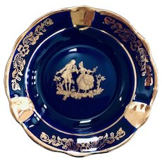 Limoges France Castel Fragonard Cobalt Blue Ashtray
