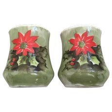Lefton Japan Poinsettia Salt & Pepper Shakers Pattern 4390