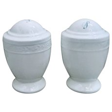 Elegant White Salt & Pepper Shakers with Embossed Band