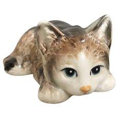 Nippon Yoko Boeki Crouching Cat Porcelain Figurine