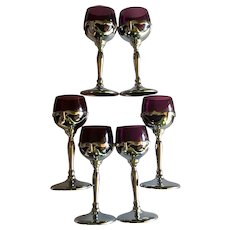 Farber Bros Krome Kraft Cambridge Amethyst Glass Cordial Glass Set