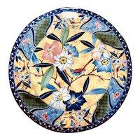 Tajimi Kutani Japan Bluebird Amidst Flowers Decorative Charger Plate