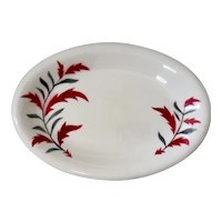Russel Wright Sterling China Red / Gray Leaf ~ Andy Warhol's Favorite ~ Restaurant Ware Platter