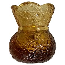 Vintage Amber Glass Daisy & Button Toothpick Holder