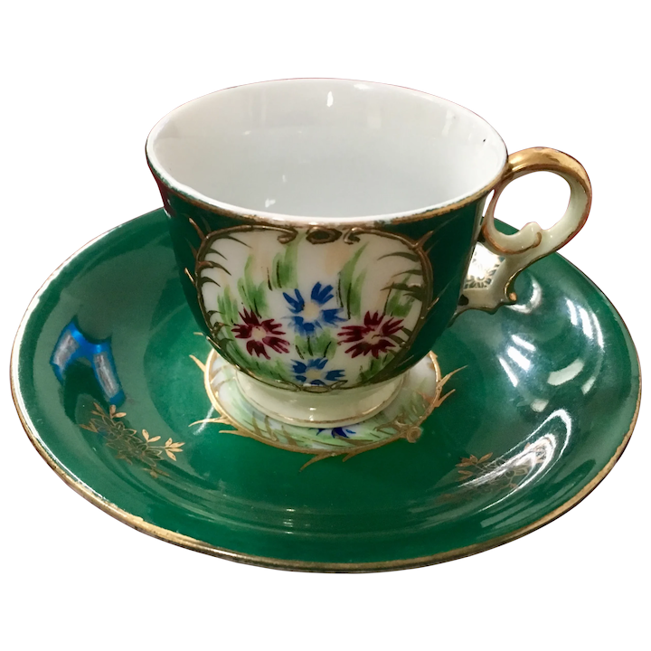 Occupied Japan Floral Green Demitasse with Gold Trim