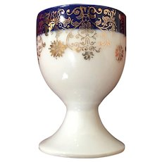 Vintage German Egg Cup with Gold Filigree and Blue Band