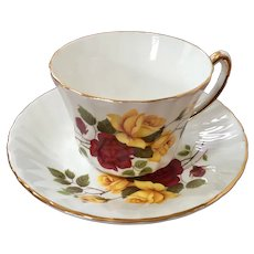 Royal Kendall Yellow & Red Rose Teacup & Saucer