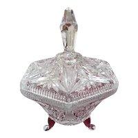 Vintage Crystal Starburst Pattern Covered Candy Dish