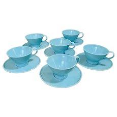 Fostoria Fashion Flair Turquoise Melamine Cup & Saucer Set of 6