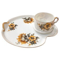 Craftsman China Eggshell Pattern Snack Tray and Cup Set