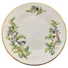 Boehm China Chickadees and Holly Dinner Plate