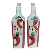 Purinton Pottery Apple Pattern Oil & Vinegar Set with Corks