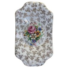 Vintage English Floral Serving Tray with Gold Trim