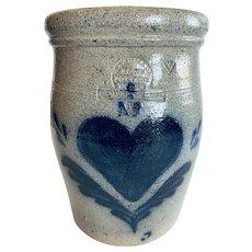 Rowe Pottery Works Heart Crock Utensil Holder