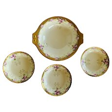 Haviland Limoges Roses with Gold Trim Bowl Set Painted by E.W. Bieg
