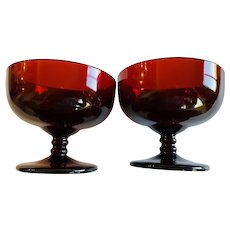 Anchor Hocking Royal Ruby Champagne Sherbet Glass Set