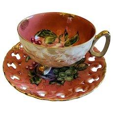 Vintage Japanese Cup & Saucer Pink Gold Fruit Pattern
