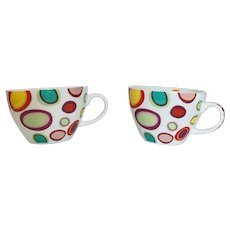German Iota Pattern Porcelain Cup Set
