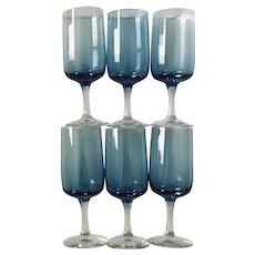 Fostoria Glamour Blue Tulip Wine Glass Set of 6 Stemmed Goblets