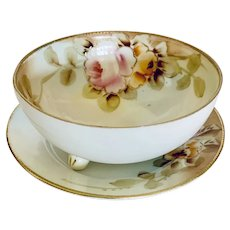 Roses and Gold Moriage Hand Painted Mayonnaise Server with Underplate