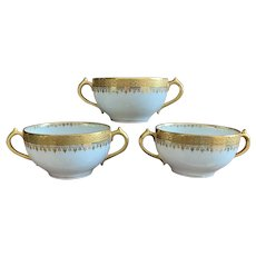 GDA Limoges Double Handle Soup Cup Set with Gold Filigree